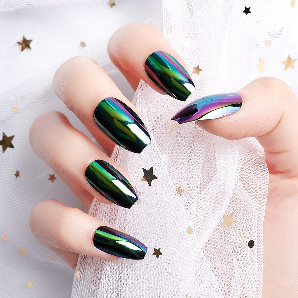 25pcs 25 Different Size Coffin Green Magic Mirror Reflection Medium Length  Full Cover False Nails with Design green