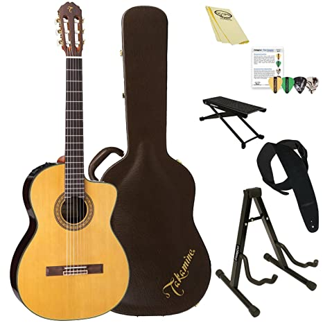 TAKAMINE tc132sc clásica acústica con cuerdas de nailon – Guitarra eléctrica con funda y ChromaCast accesorios