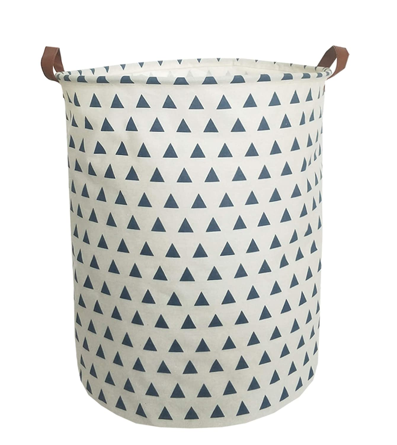 Canvas Fabric Storage Bins Collapsible Laundry Baskets Waterproof with Handle