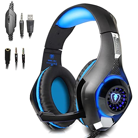 Beexcellent Gaming Headset with Mic for New Xbox One, PS4, PC - Surround  Sound, Noise Reduction Game Earphone - Easy Volume Control & LED Lighting -