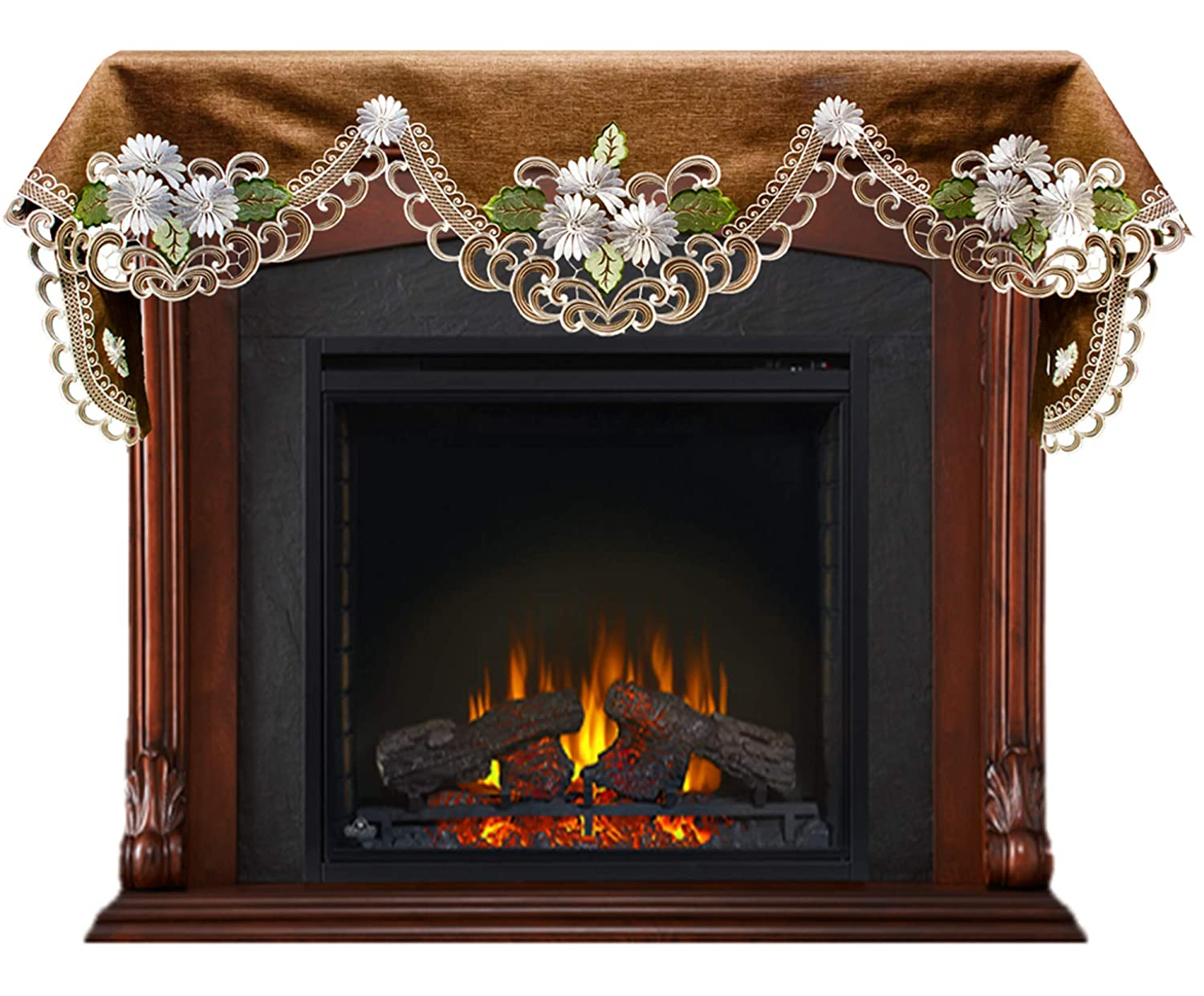 Embroidered Fireplace Mantel Scarf with White Daisy on Brown Linen and Cut Work 19 W x 90 L