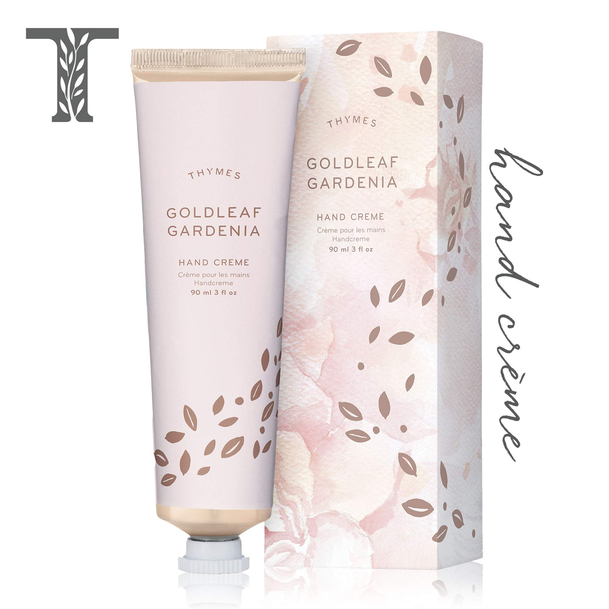 Thymes Goldleaf Gardenia Hand Crème - Deeply Moisturizing Cream with Light Floral Scent for Women - 3 oz