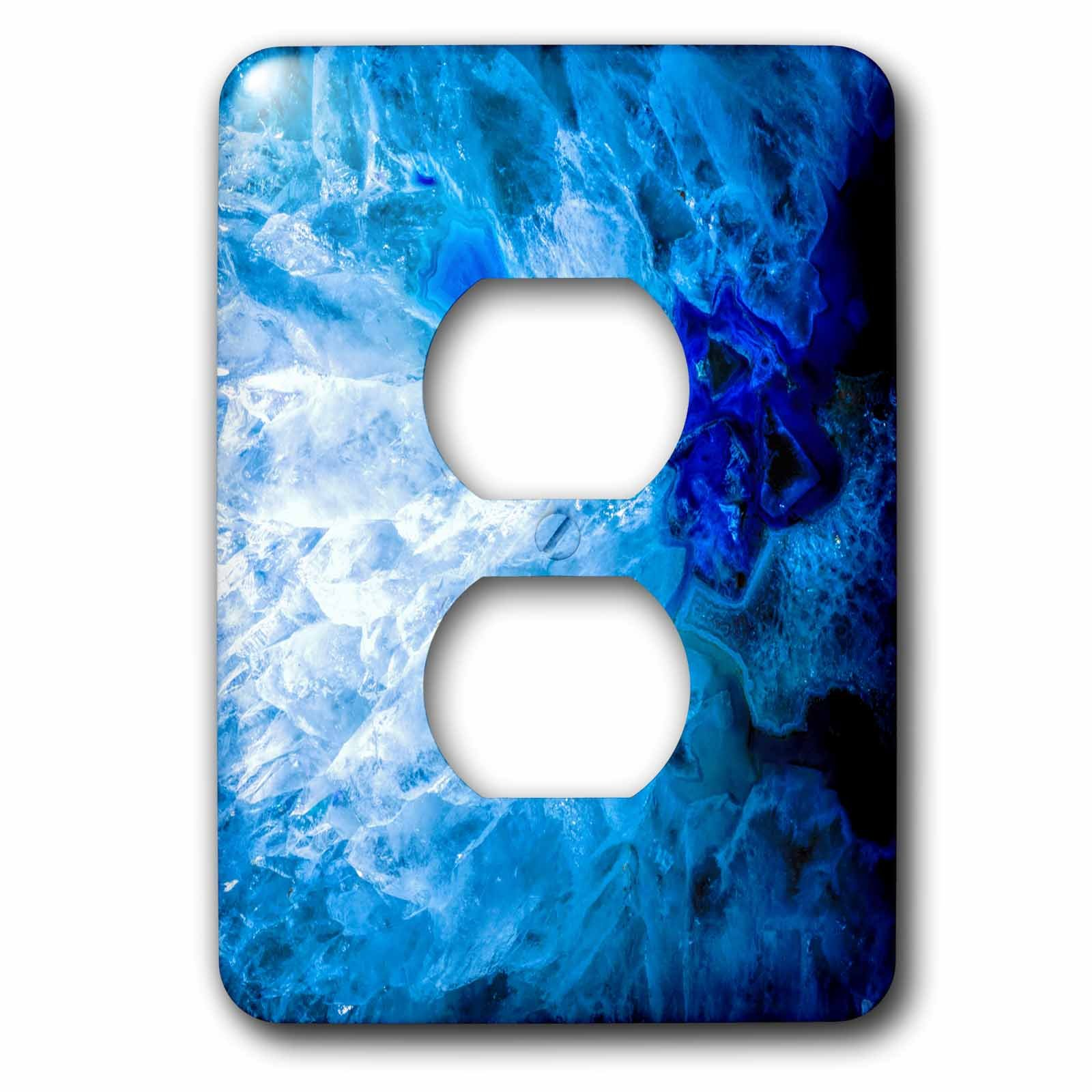3dRose Uta Naumann Faux Glitter Pattern - Image of Luxury Fashion Ice Blue Marble Agate Gem Mineral Quartz - Light Switch Covers - 2 plug outlet cover (lsp_275050_6)