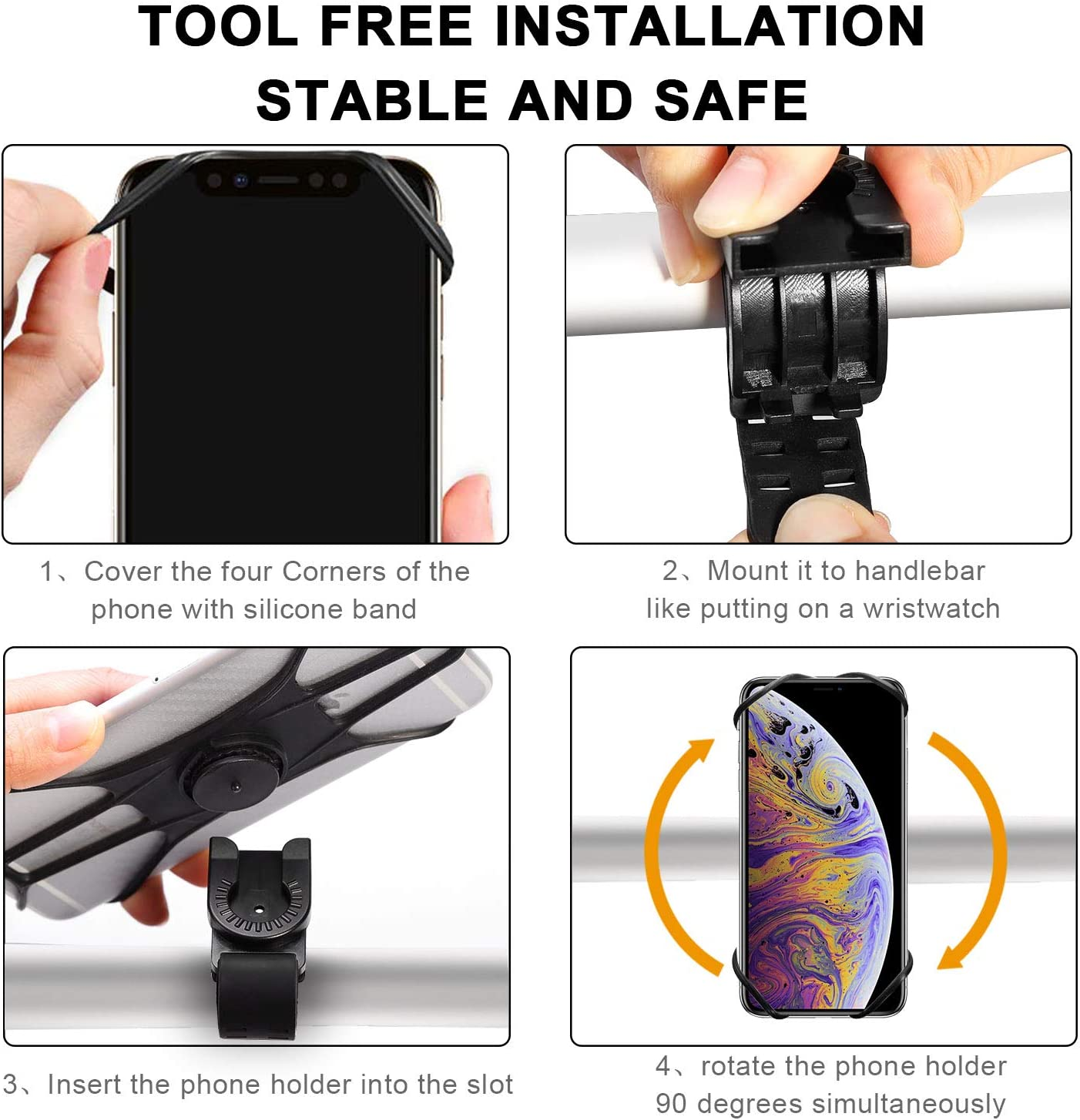 S10 Note 9//S9 Galaxy S10+ 4.0-6.5 Phones FISHOAKY Bike Phone Mount Universal Handlebar Mount for Cycling GPS//Music 360/° Rotation Silicone Bicycle Phone Holder Fits for X XR 8//8 Plus