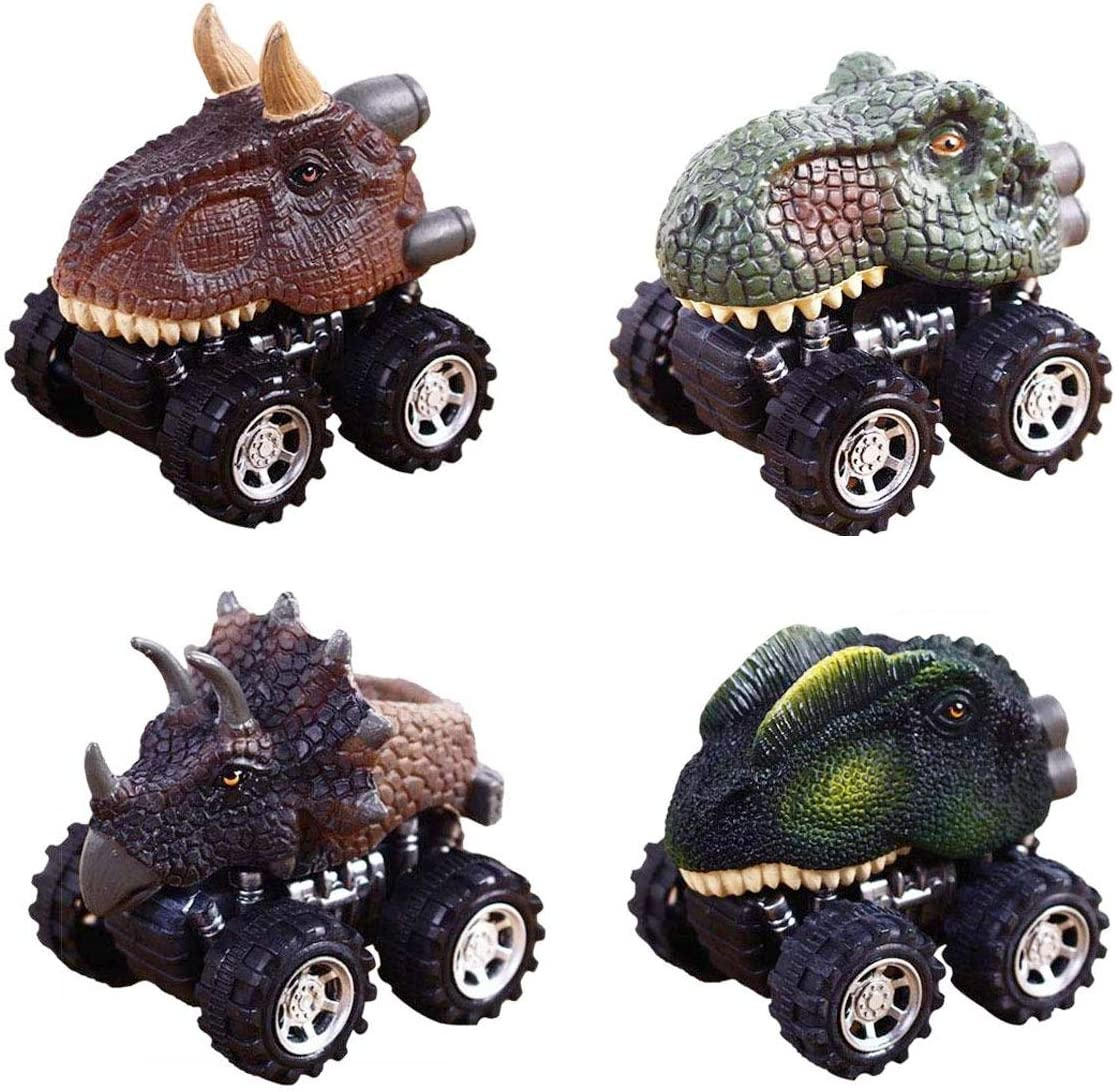Anditoy 4 Pack Pull Back Dinosaur Cars Playset Vehicles Dinosaur Toys Truck for Toddlers 3-14 Year Old Kids Boys Christmas Stocking Stuffers