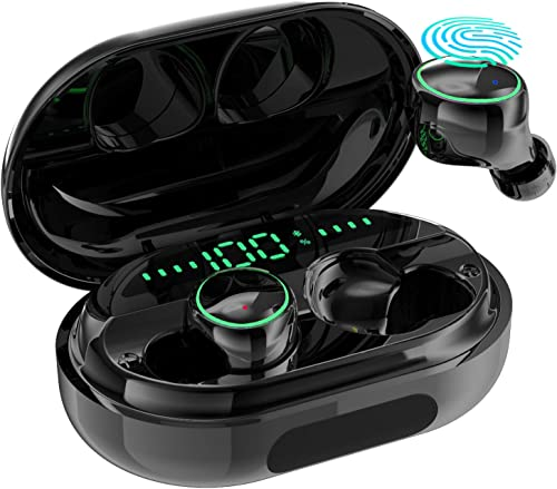 Bluetooth Earbuds Wireless Headphones- IPX8 Waterproof Earphones with Charging Case for Android, iOS, Windows and Mac Including Breathing Light, Built-in Mics, Noise Reduction and Hi-Fi Stereo Sound