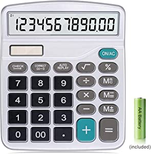 Calculator,12-Digit Solar Battery Basic Calculator,Solar Battery Dual Power with Large LCD Display Office Calculators (Silver)