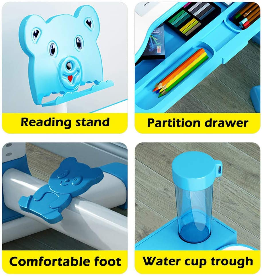 Childs Desk W//Lamp Height Adjustable Kids Desk and Chair Set with Students Writing Desk Storage Drawer Bookstand for Boys /& Girls,A-Blue Children Study Table Children Desk