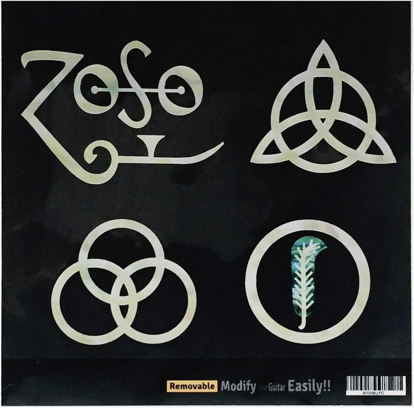 Inlay Stickers para guitarras y bajo - 4 símbolos Led Zeppelin IV