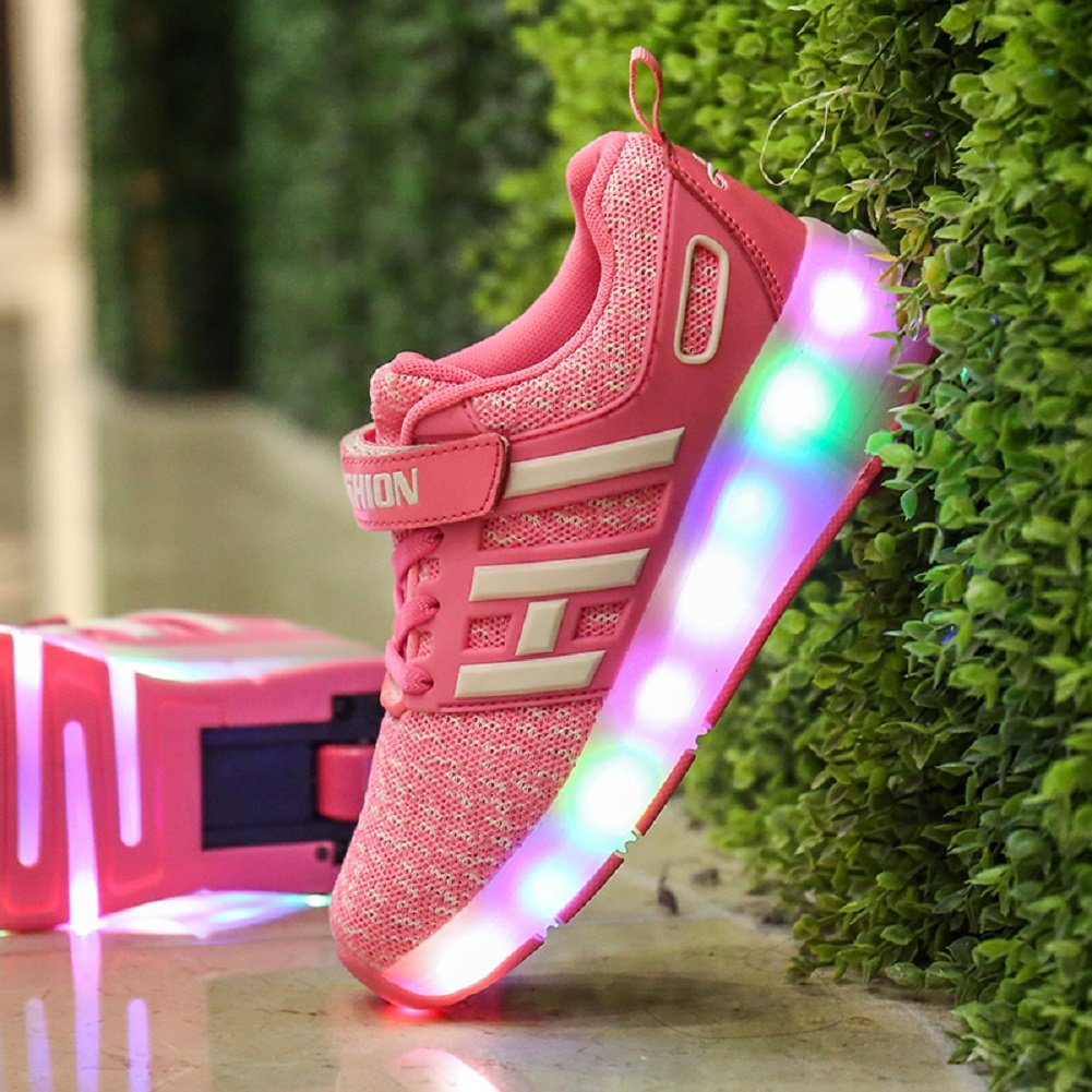 Unisex Kids LED Luminous Flashing Retractable Technical Roller Skates Shoes Sport Outdoor Automatic Multi-Sport Gymnastics Sneaker Skateboarding Trainers