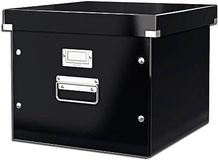 Leitz 60460095 Click & Store - Caja de almacenamiento para carpetas colgantes, color negro: Amazon.es: Oficina y papelería