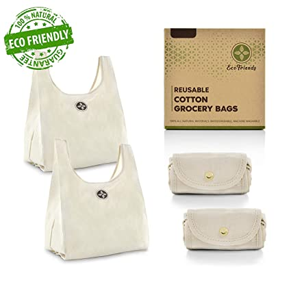 be59948f837f Amazon.com  Foldable Cotton Grocery Bags