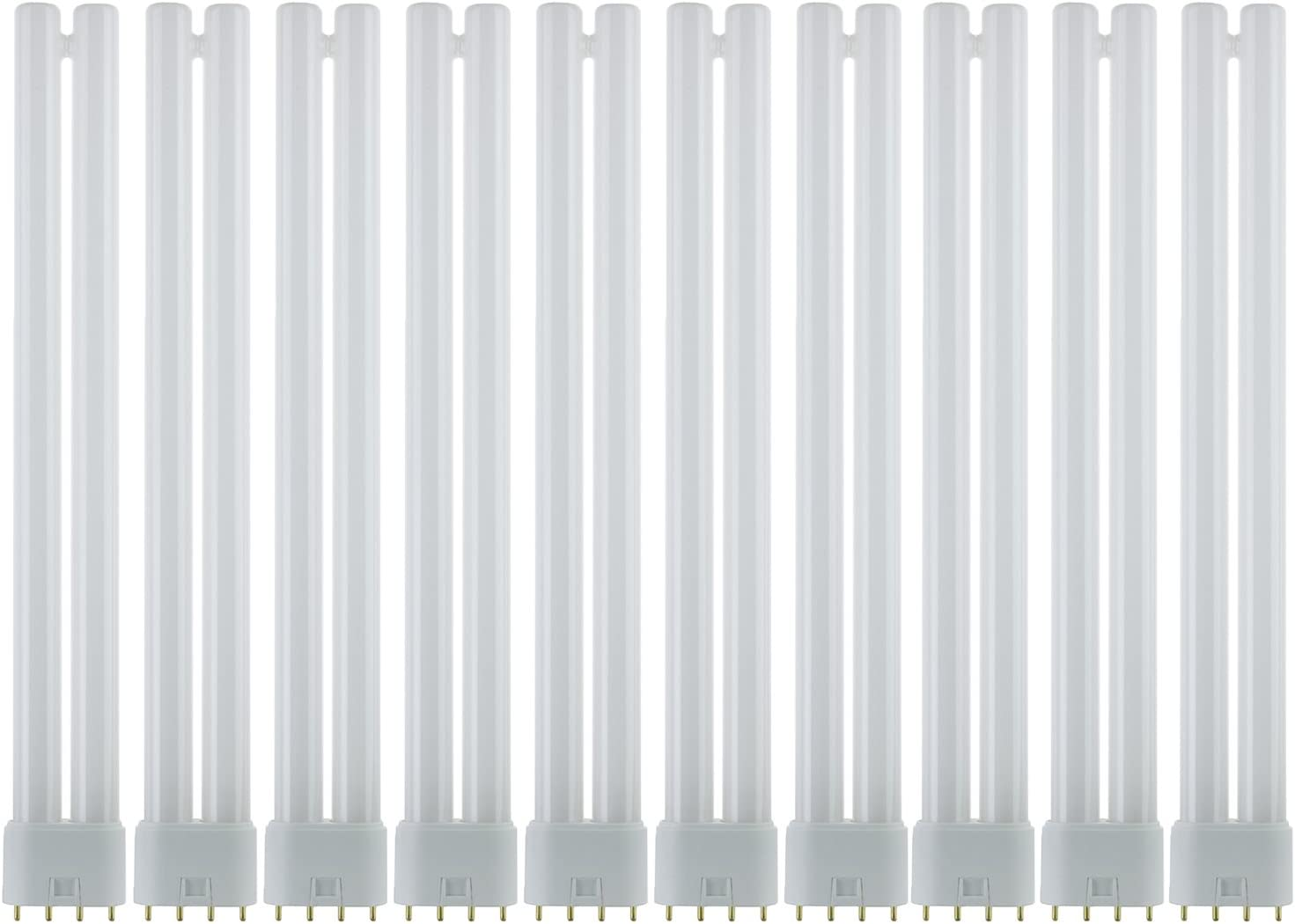 Sunlite FT24DL/830/10PK FT 24W 12 Inch/1 Foot Twin Tube Fluorescent Ceiling Light Fixtures, 4-Pin (2G11) Base, 3000K Warm White, 10 Pack, 3000K-Warm, 10 Piece
