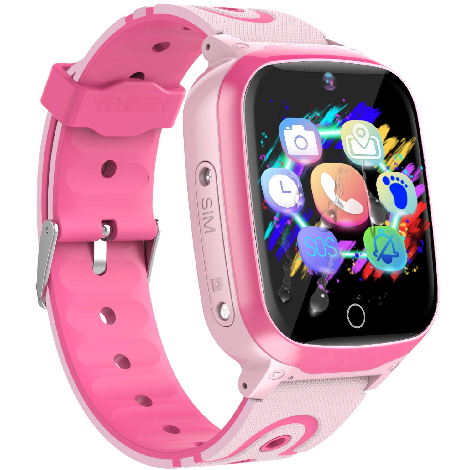 YENISEY Kids Smart Watches GPS Tracker - 12 Hrs Waterproof Smartwatch with 1.4'' Touch Screen WiFi GPS LBS Track SOS 2 Way Call Voice Chat Pedometer Health Fitness Watch for Boys Girls (Pink) by YENISEY