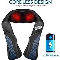 MaxKare Kabellos Massagegerät Nacken Schulter Rücken Shiatsu Nackenmassagegerät mit Wärmefunktion 3D-Rotation Elektrisch Massage