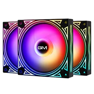 GIM KB-11 RGB Case Fans, 3 Pack 120mm Quiet Computer Cooling PC Fans, Music Rhythm 5V ARGB Addressable Motherboard SYNC/RC Controller, Colorful Cooler Speed Adjustable with Fan Control Hub