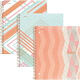 """Five Star Spiral Notebooks, 1 Subject, College Ruled Paper, 100 Sheets, 11"""" x 8-1/2"""", Interrupt Coral, V Coral, ZigZag Coral, 3 Pack (38503)"""