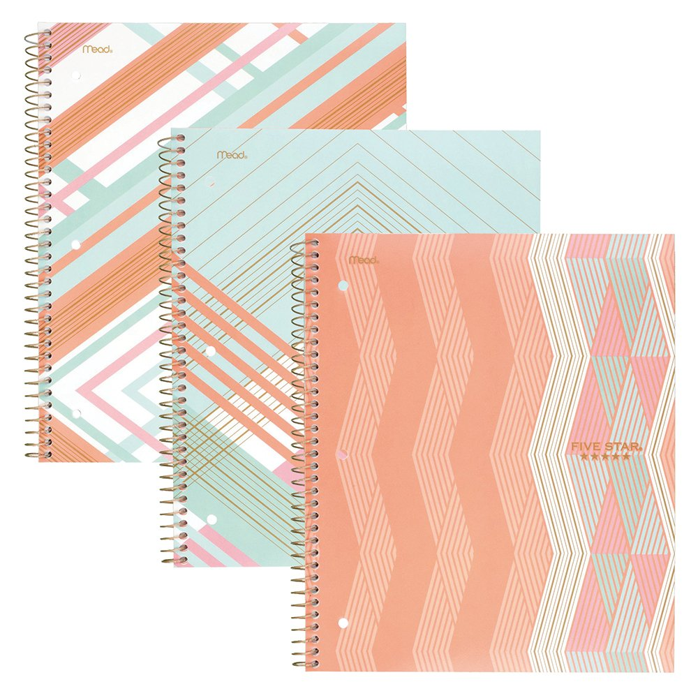 Five Star Spiral Notebooks, 1 Subject, College Ruled Paper, 100 Sheets, 11'' x 8-1/2'', Interrupt Coral, V Coral, ZigZag Coral, 3 Pack (38503)