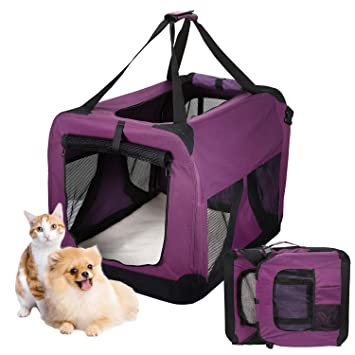 Kennel para Perros Gatos Transpirable Plegable Pet Carrier Acolchado Transportin Perro Comodo para Viaje Transporte Púrpura 70*52*52cm: Amazon.es: Productos ...