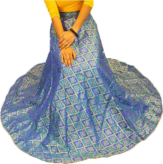 Lehenga für Frauen Lengha Brokatrock nur indisch ethnisch Navratri Garba Bollywood Hochzeit lang ...