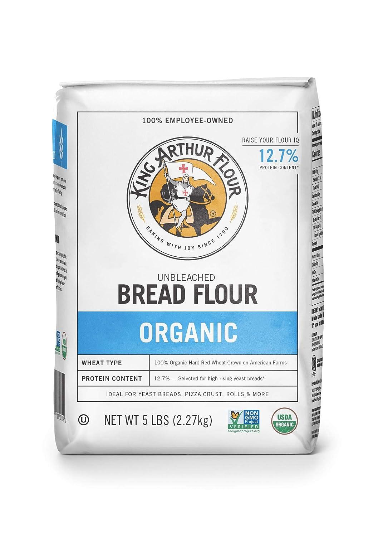 King Arthur Flour 100% Organic Unbleached Bread Flour, 5 Pound