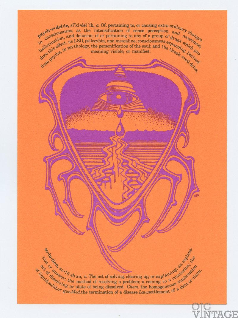 Rick Griffin 1989 The Crying Eye Postcard PSYCHEDELIC SOLUTION