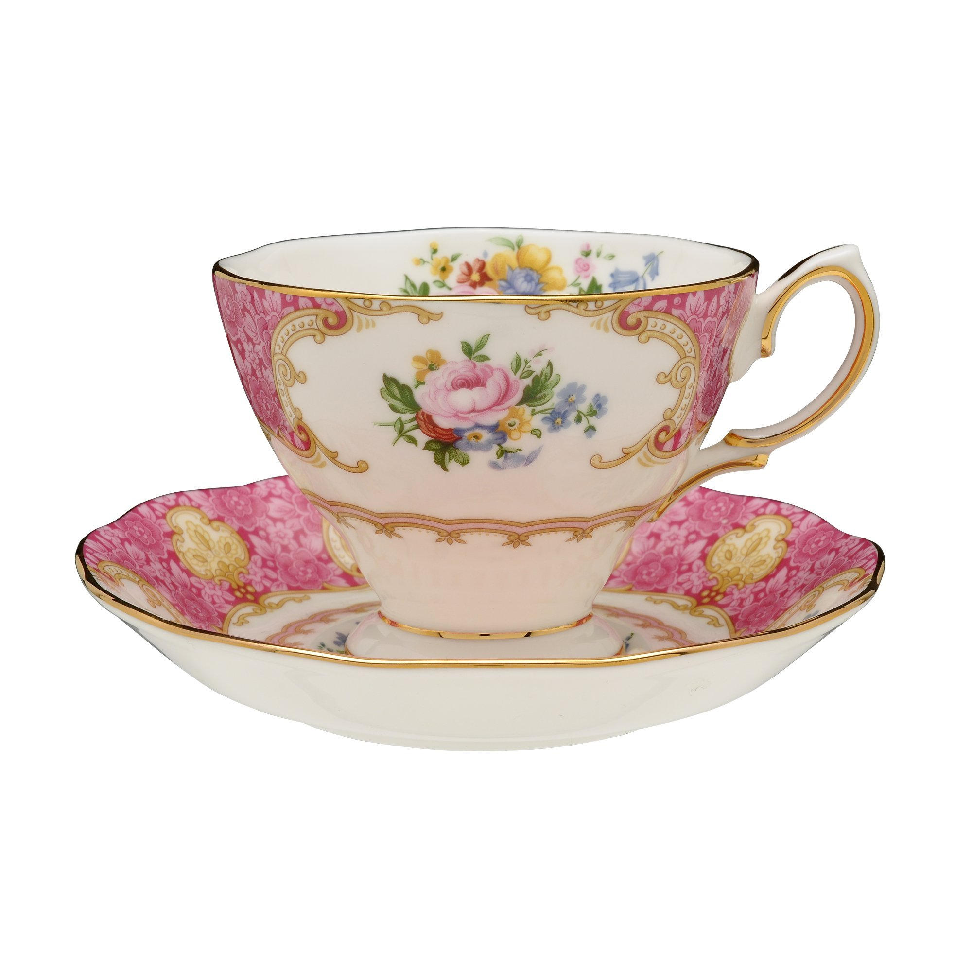 Royal Albert Lady Carlyle Teacup & Saucer Teacup and saucer, 6.85 ounces, Multicolored Floral Print