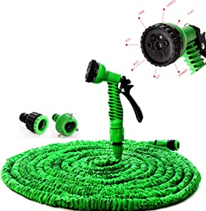 Expandable Garden Hose, 100FT Lightweight Durable Flexible Hose, Collapsible Retractable Water Hose Pipe with 7 Function Spray Nozzle Durable Leakproof Free Retractable Expandable Garden Hose Green