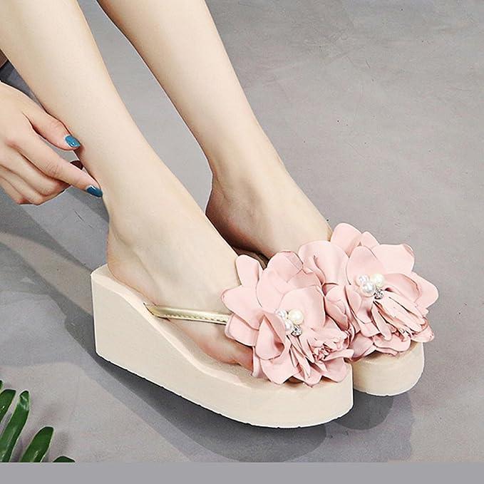 Hausschuhe HAIZHEN Frauenschuhe 3cm/7cmFemale Sommer Pantoffeln Perle Blumen Strand Schuhe Urlaub Sandalen (Schwarz...