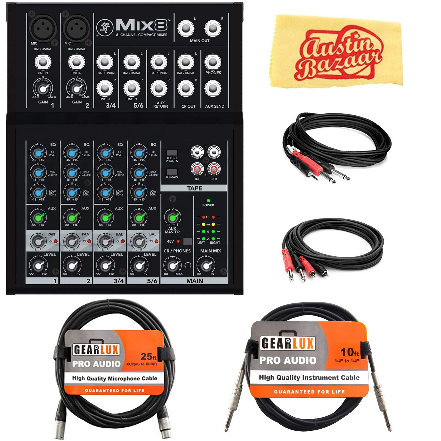 Mackie Mix8 8-Channel Compact Mixer Bundle with XLR Cable, Instrument Cable, Stereo Breakout Cable, Dual 1/4''-to-RCA Cable, and Austin Bazaar Polishing Cloth by Mackie (Image #1)
