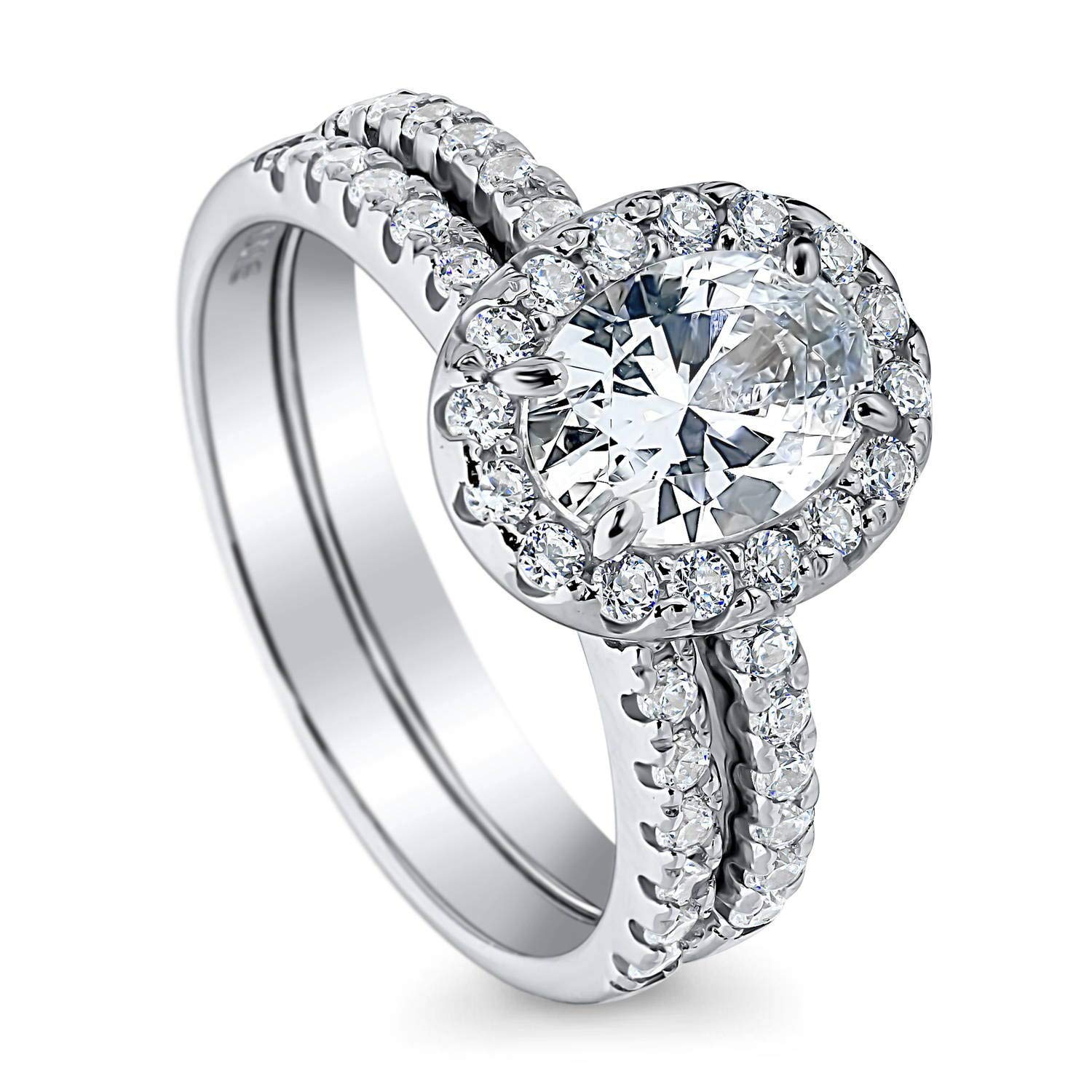 BERRICLE Rhodium Plated Sterling Silver Halo Engagement Wedding Ring Set Made with Swarovski Zirconia Oval Cut 1.87 CTW Size 8