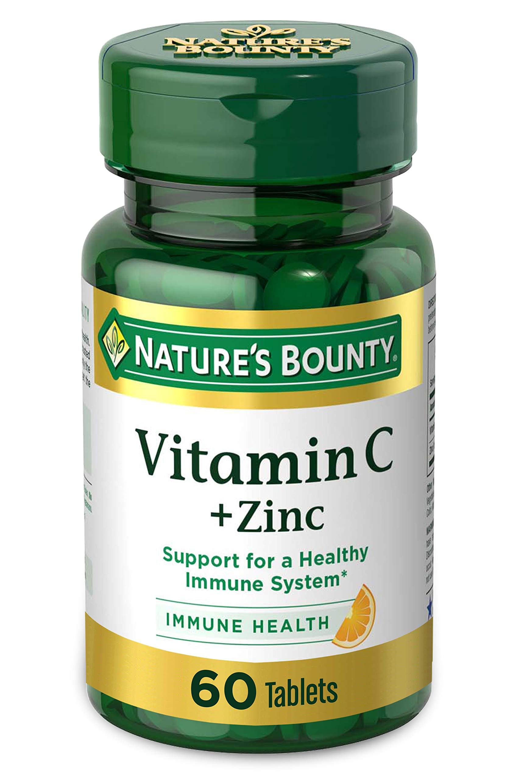 Vitamin C + Zinc by Nature's Bounty, Vitamin Supplement, Supports Immune Health, 60 mg, 60 Tablets
