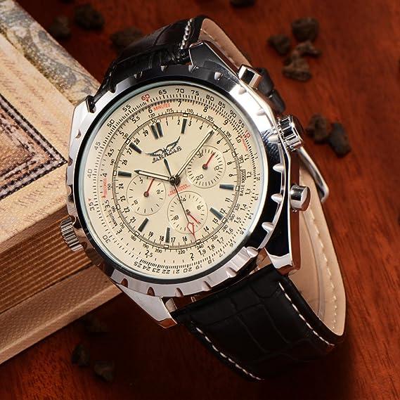 JARAGAR - Reloj de pulsera hombre, piel, color negro
