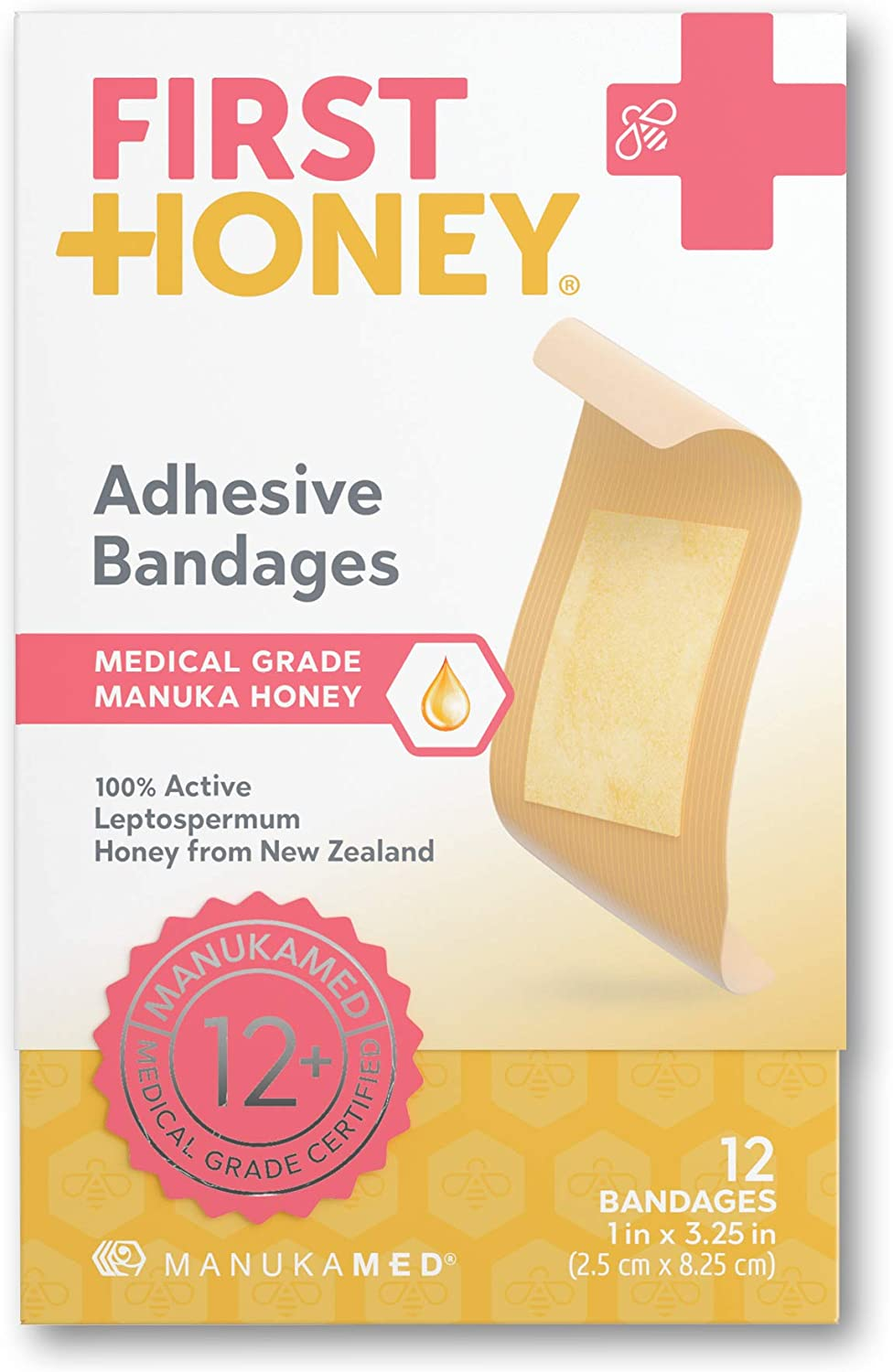 First Aid Care Burns Cuts Scrapes Lacerations Antibiotic Free Wound Dressing Medical Grade Honey Adhesive Pads First Honey Manuka Honey Adhesive Bandages 12 Pack Wounds Latex Free