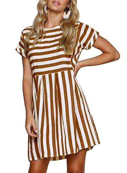 5da7ff9acc5f STKAT Women s Crew Neck Short Sleeve Striped Pleated Loose Swing Casual T-Shirt  Dress