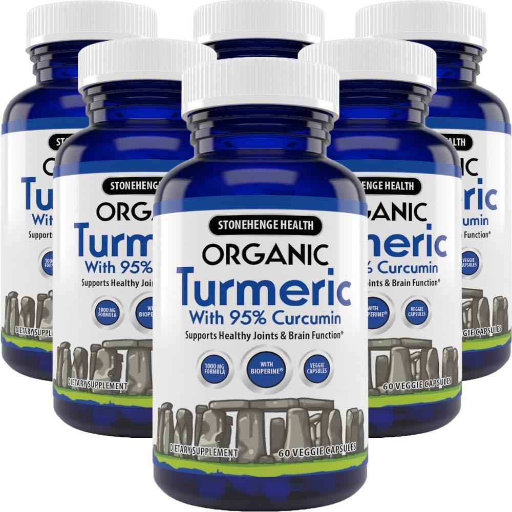 Stonehenge Health Organic Turmeric Maximum Strength 95% Curcumin with BioPerine® for Added Absorption - Anti-Inflammatory, Pain Reducer, Arthritis Support - 1,010 mg Daily dose (6 Pack)