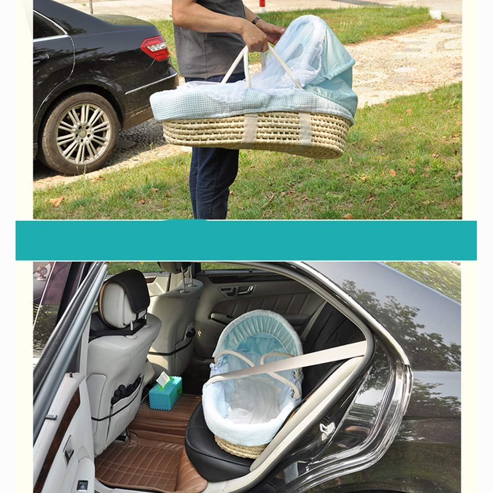 HEEGNPD Straw Natural Hand Knitting Baby Portable Bassinet Bed Cradle Breathable Outdoor Travel Cars Baby Kids Cradle Bed Protector,5 by HEEGNPD