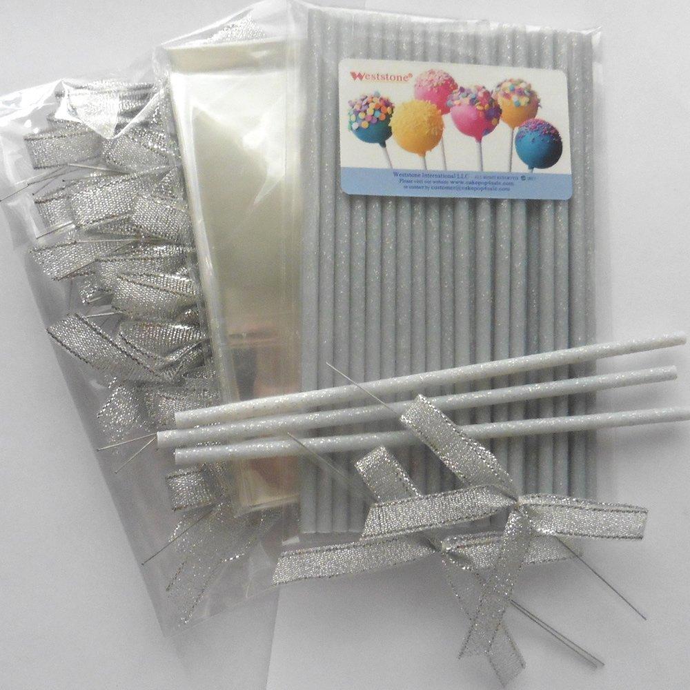 25pcs 6'' Plastic Dust Silver Glitter Sticks + 25 Bags + 25 Ribbon bows