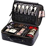 Portable Travel Makeup Bag GLAMFORT Makeup Case Organizer Bag with Large Capacity and Adjustable Dividers (M, Black)