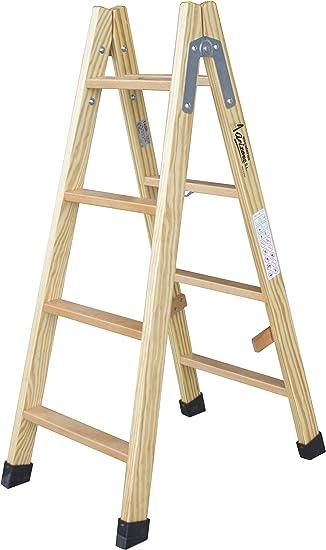 Escalera de tijera de madera con peldaño de haya de 54 mm ...
