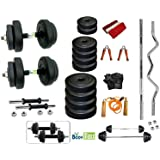 Body Maxx Dumbbells Weight Plates with 4 Rods Home Gym Complete Fitness Set (20 Kg)