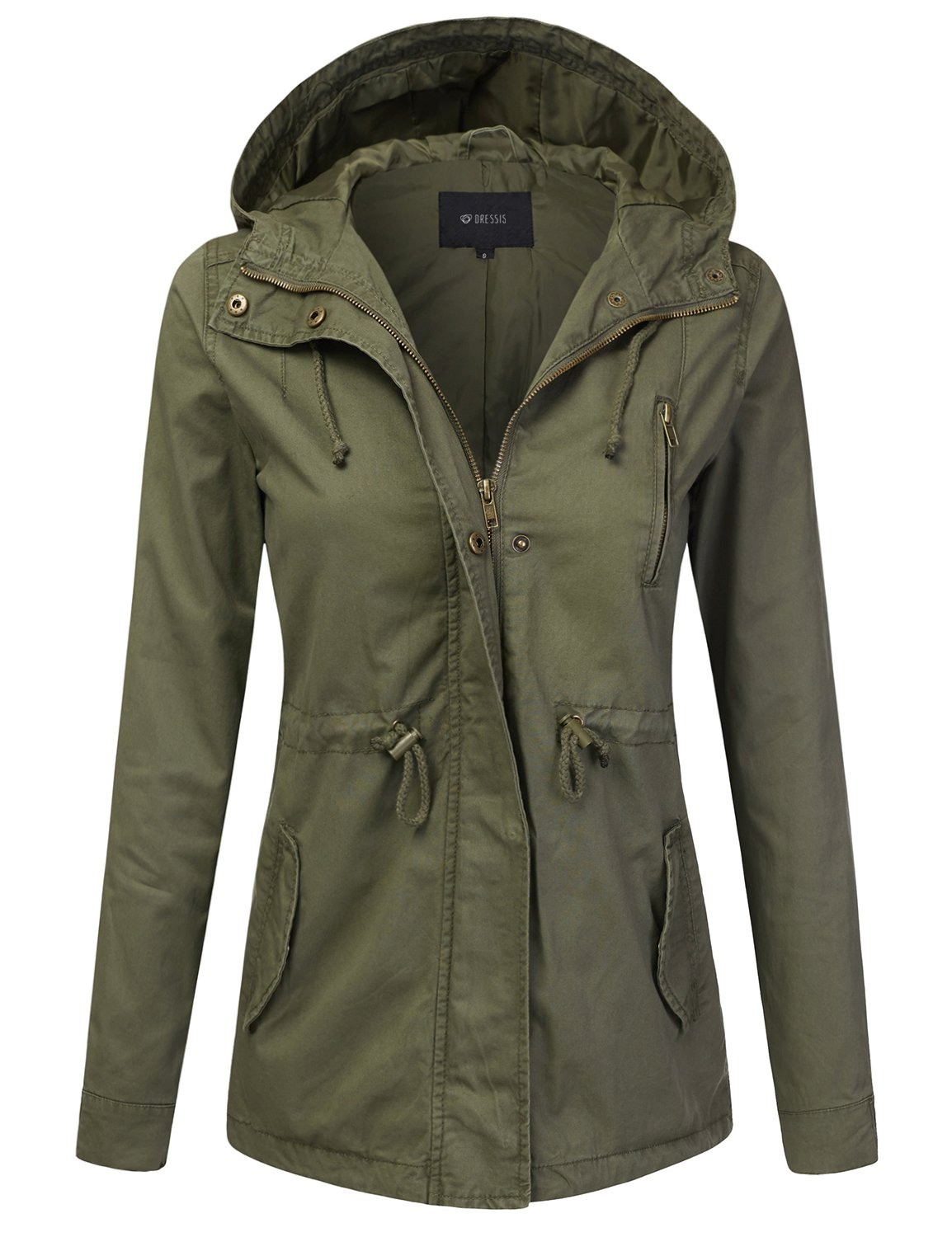 DRESSIS Women's Lightweight Military Anorak Hooded Jacket OLIVE M