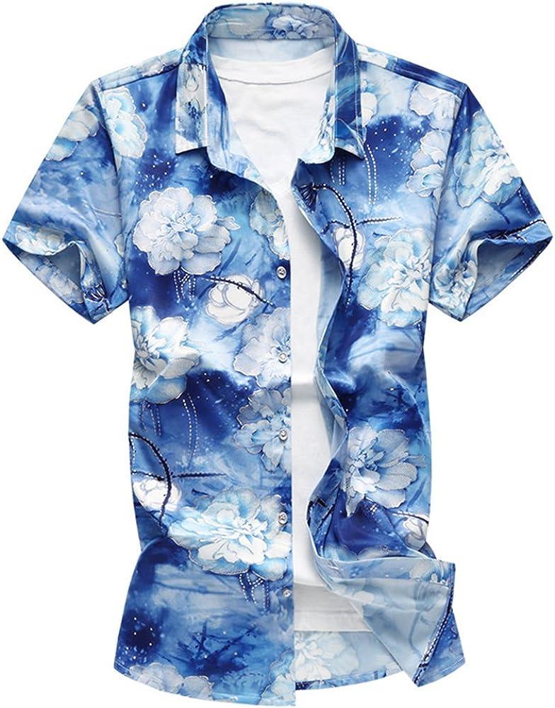 WanYangg Hombre Hawaianas Vintage Camisas Manga Corta Flores Camisa Tropical Casuales Camisas Estampadas Camisas de Verano de Fiesta tee Tops Hawaiana Estampadas Azul M: Amazon.es: Ropa y accesorios
