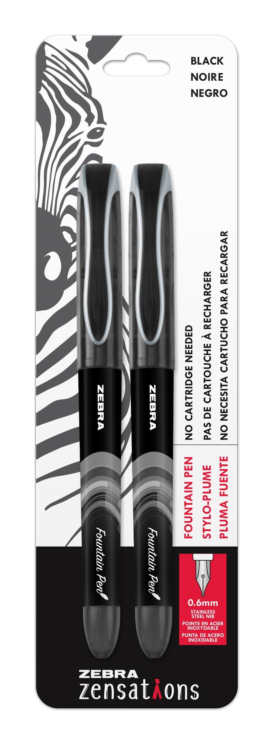 2 Lapiceras Estilografica De 0.6mm Color Negro Marca Zebra