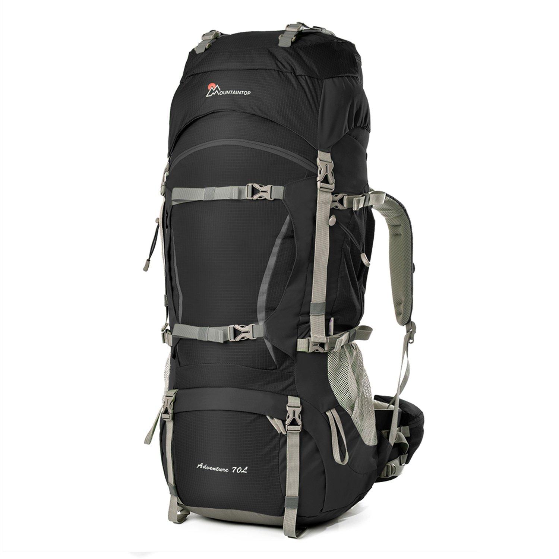 Mountaintop 70L/75L バックパック メンズ リュック 登山 大容量ザック 軽量 長期旅行 ハイキング キャンプ用 リュックサック アウトドアバッグ レインカバー付き 撥水 B07D5SSJLW ブラック ブラック