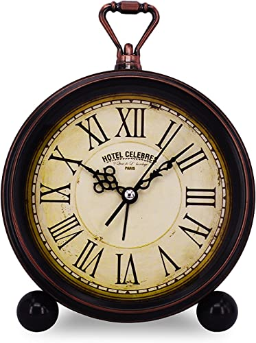 Vintage Retro Living Room Decorative Non-Ticking, Sweep Second Hand, Quartz, Analog Large Numerals Bedside Table Desk Alarm Clock, Battery Operated Hotel Celebres