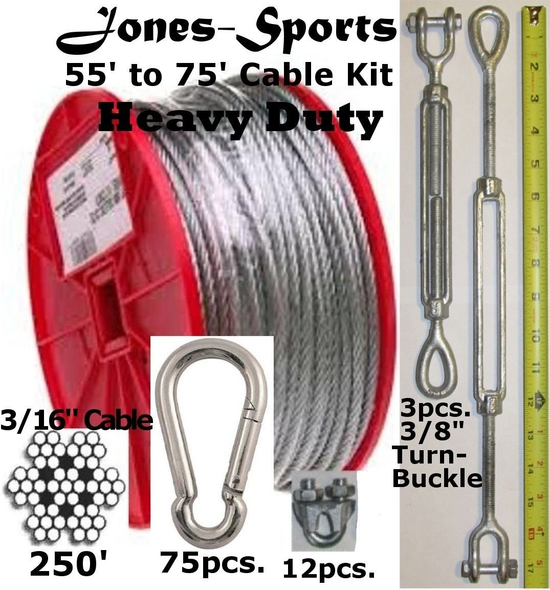 Heavy Duty 70' Indoor/Outdoor Cable Kit for Baseball Softball Batting Cage Net with 3/8'' Turnbuckles, 3/16'' cable clamps, and zinc carabiners by Pinnon Hatch Farms/ Jones Sports