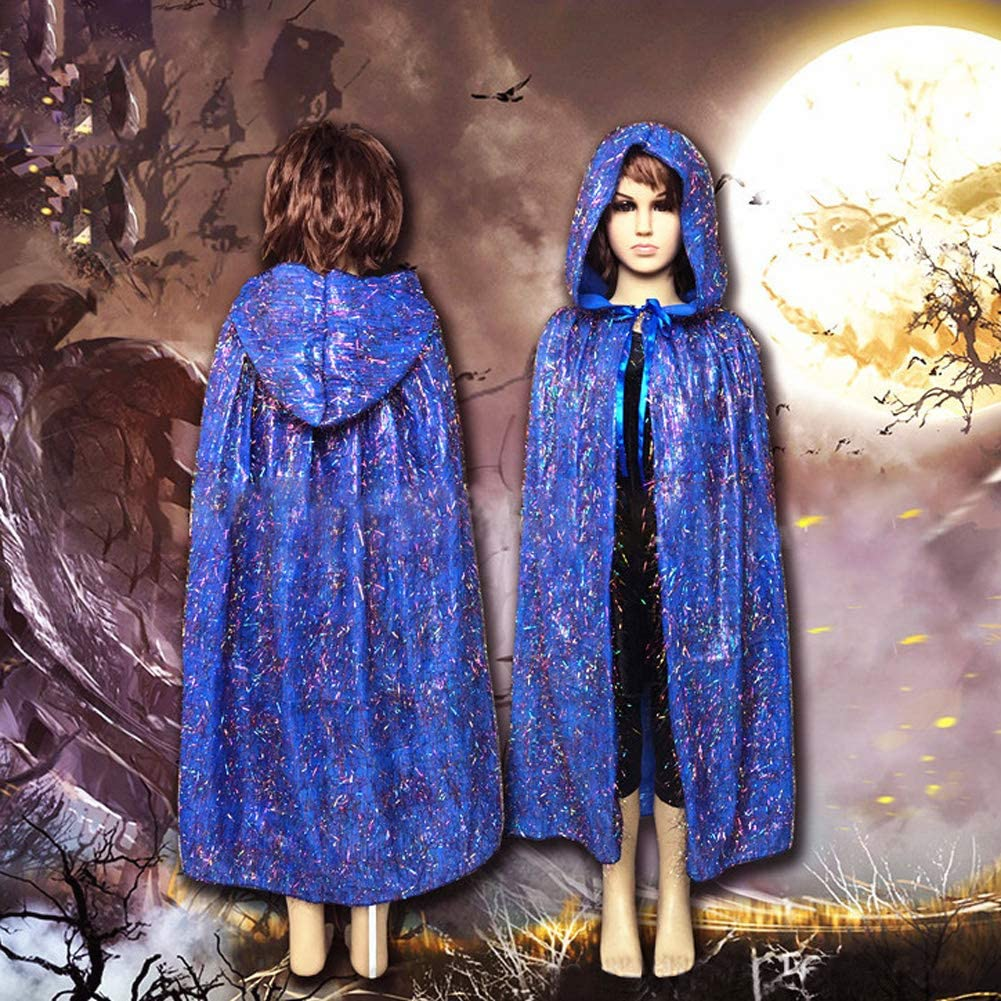 Kids Halloween Costume Cloak Hooded Cape Boys Girls Cosplay Party/Costume Long Cape Hooded Cloak Child Halloween Christmas Fancy Dress Up Medieval Cloak With Hood For Devil Witch Wizard Magician