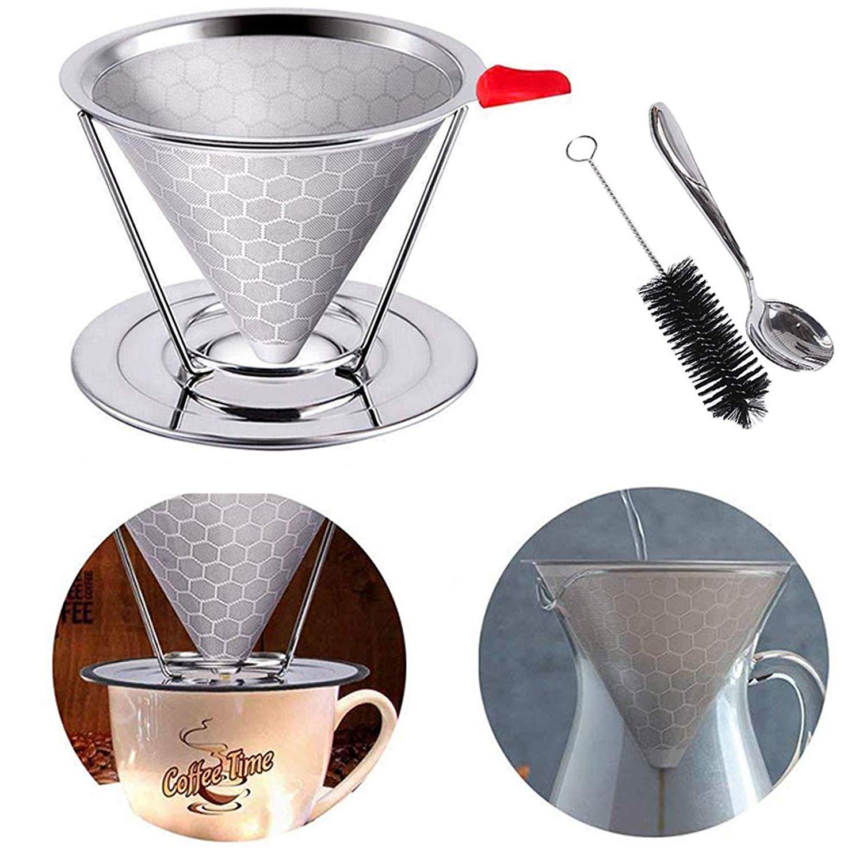 コーヒーフィルター 再利用可能 コーヒーフィルター 注ぎ口 コーヒードリッパー ドリップコーヒー コーンコーヒーフィルター 滑り止めカップスタンドとブラシ付き ペーパーレス ハニカムデザイン   B07GJBD45Z