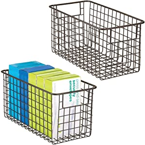 mDesign Farmhouse Metal Wire Storage Basket Bin with Handles for Home Office, Filing Cabinets, Shelves - Organizer for School Supplies, Pens, Pencils, Notepads, Staplers, Envelopes, 2 Pack - Bronze